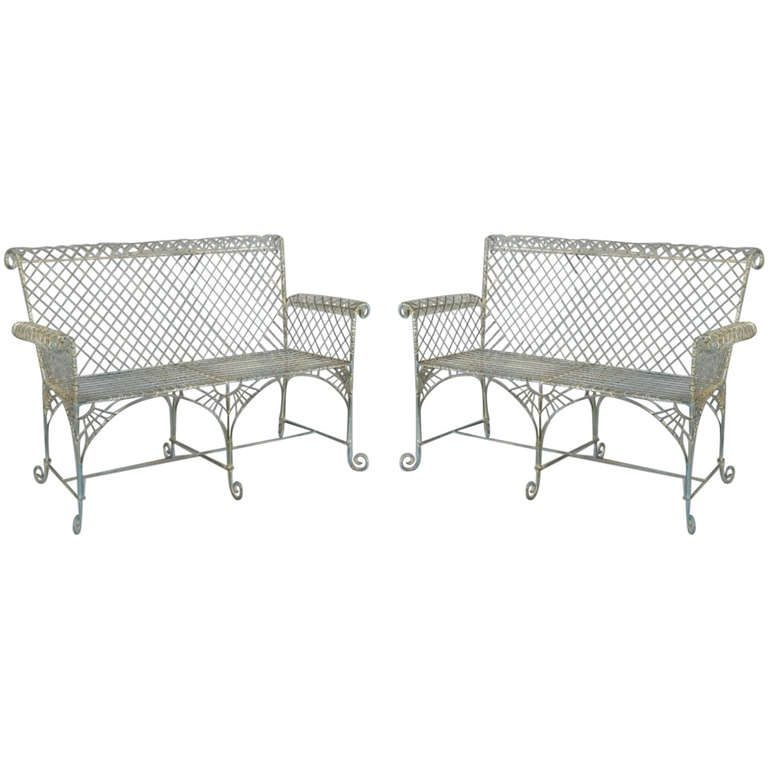 Superb Pair Of Classic Wire Garden Benches Cool Garden Stuff Not Pabps2019 Chair Design Images Pabps2019Com