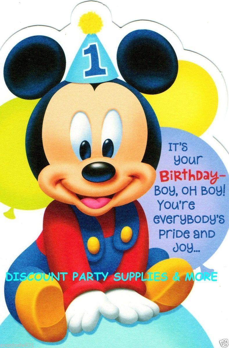158162094disney Mickey Mouse 1st Birthday Greeting Cardg 788