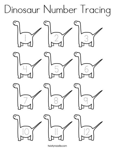 Dinosaur Number Tracing Coloring Page - Twisty Noodle ...