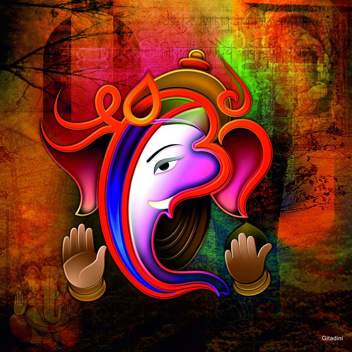 This beautiful image has been inspired by Lord Ganesha ...