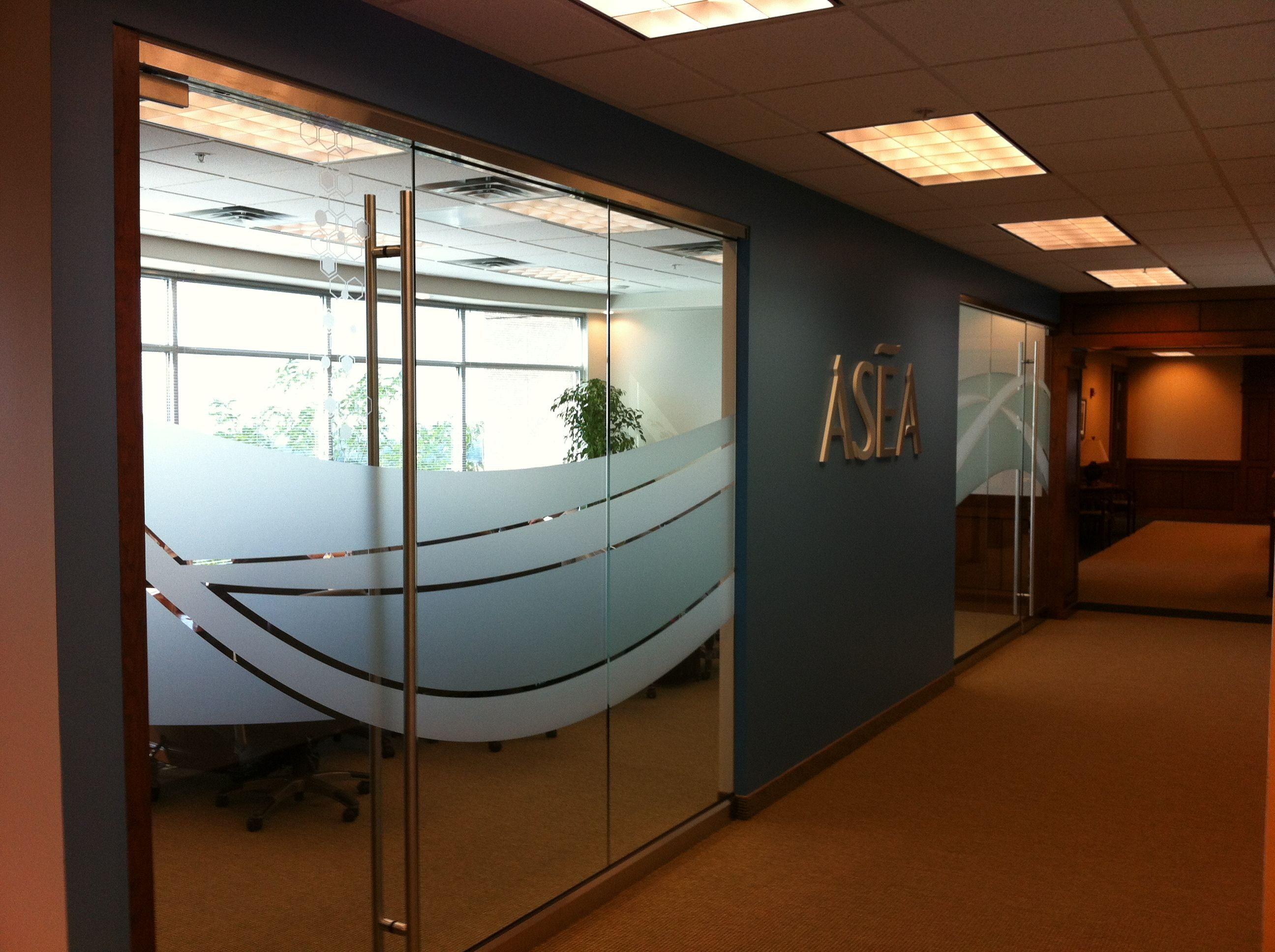 Conference room with frosted dusted crystal vinyl for Window design room