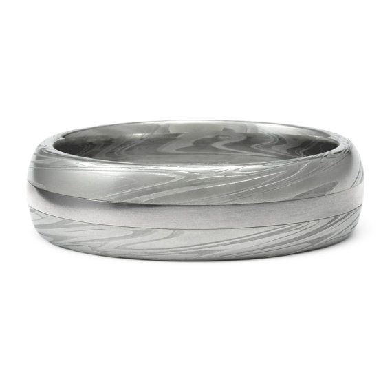 Flat or Domed Band with Unique Pattern \u2013 Prima DAMASCUS Mens or Womens WEDDING Band \u2013 Custom Made Stainless STEEL Ring for Man or Woman