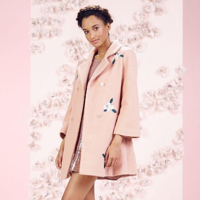 Lauren Conrad Runway Rose Pink Floral Emroidered Wool Blend Swing ...