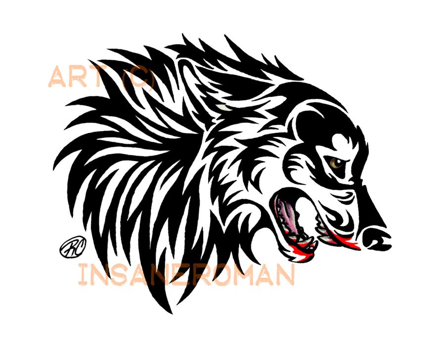 Tribal Wolf Head Tattoo Simple Tribal Wolf Head Snarling Wolf Tribal Design By Tribal Wolf Snarling Wolf Wolf Head
