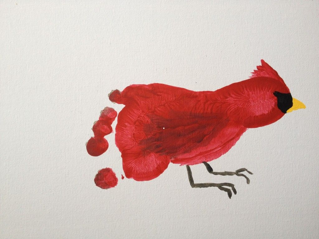 847d62c0 Footprint Cardinals - iluvem | Ideas for School | Bird crafts ...