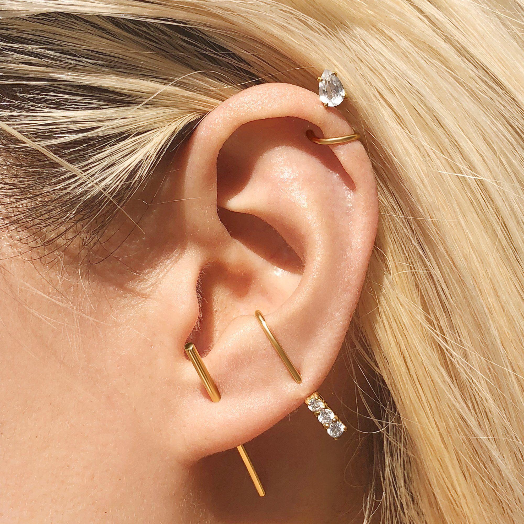 Dual Diamond Suspender Earring Ear Jewelry Suspender Earrings Stick Earrings