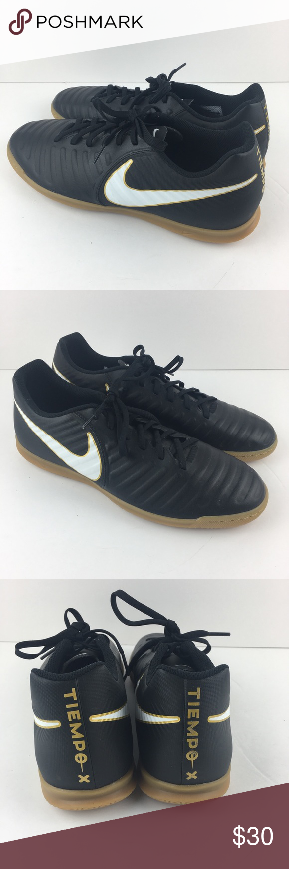 Nike Tiempo X Indoor Soccer Shoes A Great Pair Of Barely Worn Indoor Soccer Shoes From Nike Black With White Nike Swoosh Soccer Shoes White Nikes Black Nikes