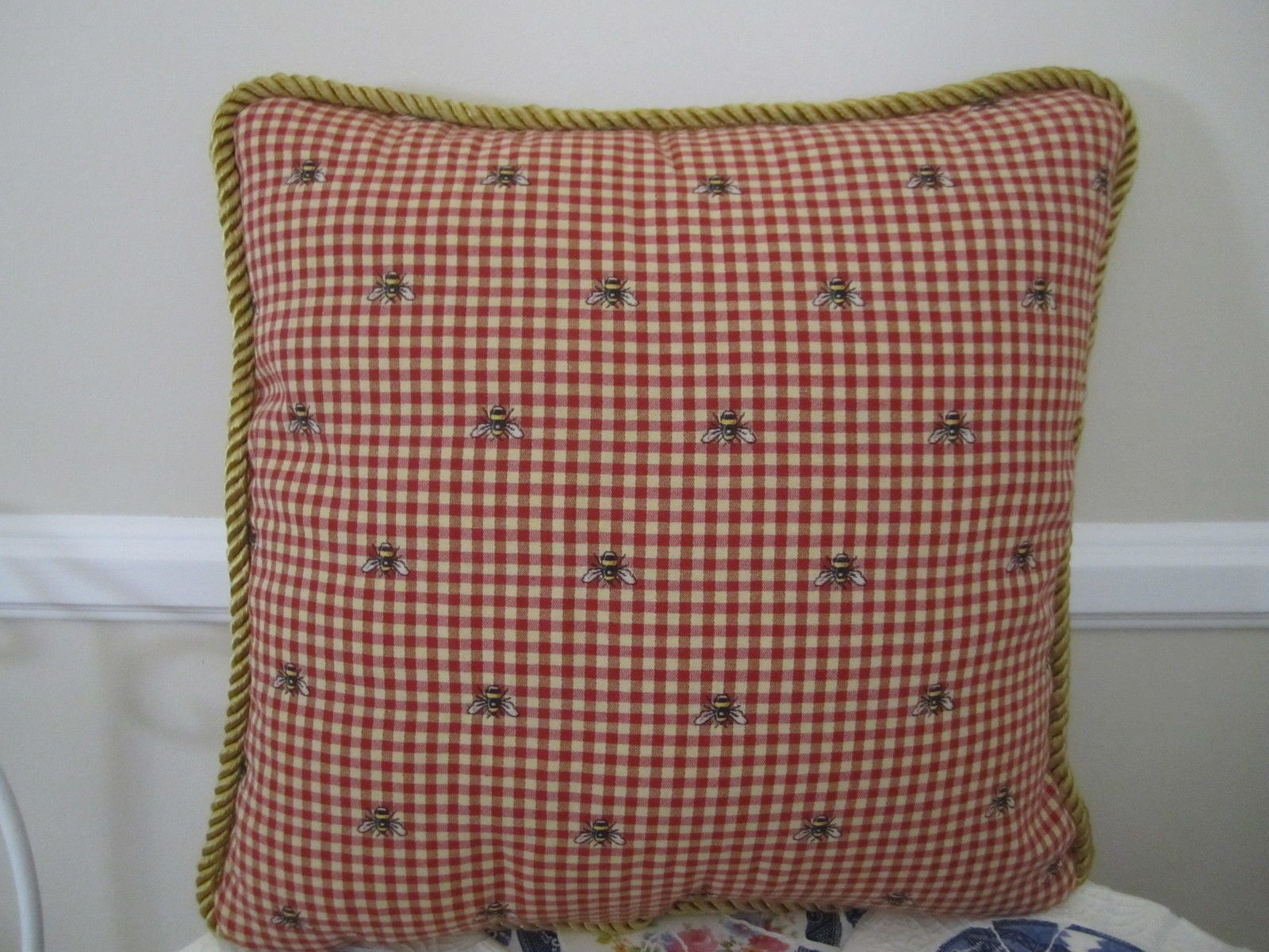 16 Bumble Bee Red Yellow Gold Check French Country Toile Pillow Waverly Fabric