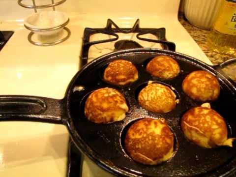Photo of How to Make Lemon AEbleskivers prepared in a Lodge Cast Iron Pan