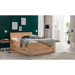 Bed Anna, solid beech, 90 cm x 200 cm, seat height 60 cm, headboard No. 40, nature …
