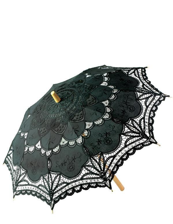 Black Victorian Lace Parasol