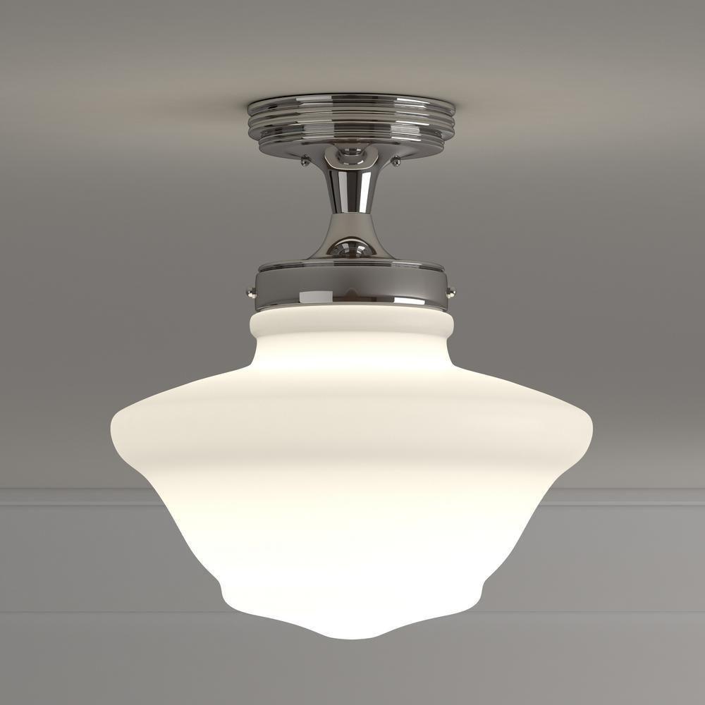 Design House Schoolhouse Satin Nickel Ceiling Mount Light 577494 Flush Mount Lighting Interior Lighting House Design