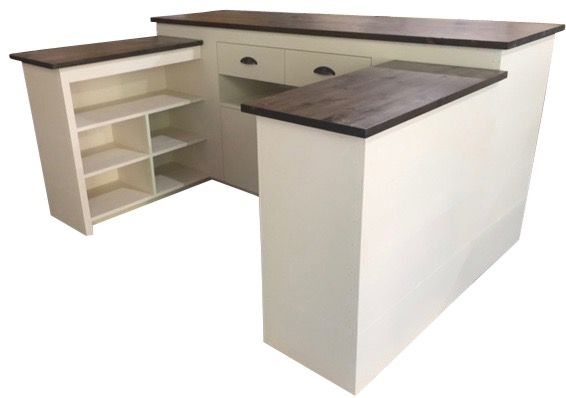 Small U Shaped Retail Cash Sales Pos Counter System Storage