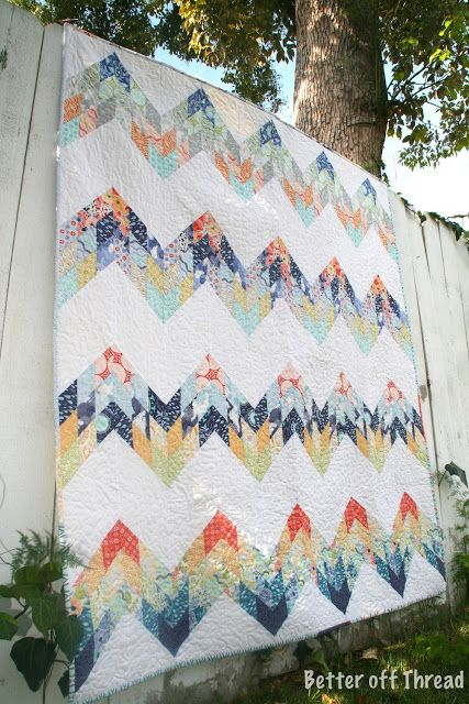 Hello Zig Zag Quilt Pattern : Sunnyside Diamond Zig Zag Quilt is a great use of strips in a colorful zig zag quilt. This ...