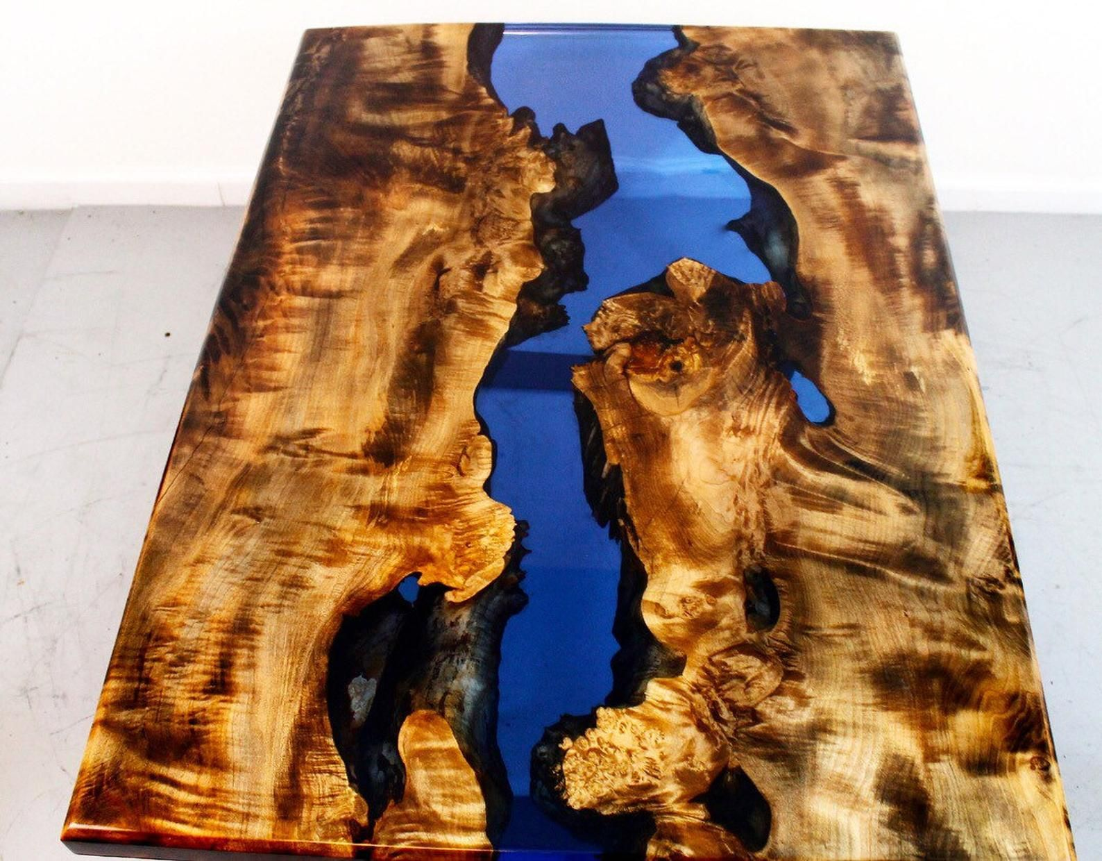 Ebonized maple resin river coffee tables resin table top