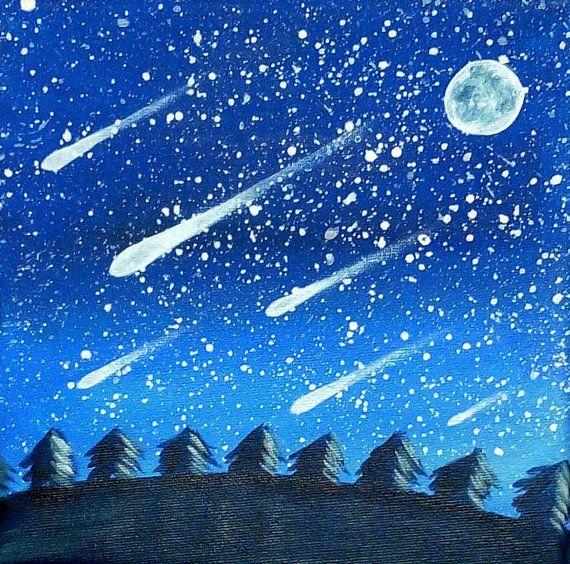 Tableau paysage de nuit tableau ciel toil par sabrinariggio paysage pin - Fabriquer un ciel etoile ...