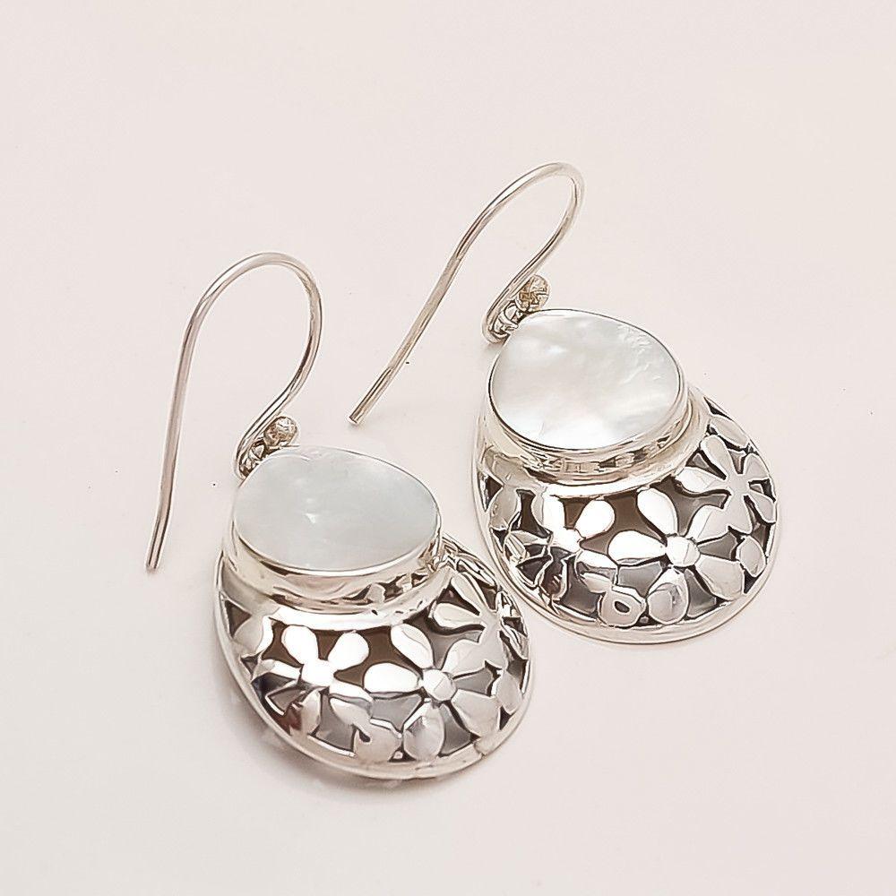 Carved Abalone Shell Hoop Earrings .925 Sterling Silver Hook Boho Gypsy Jewelry