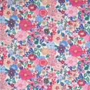Liberty of London Beth's Flowers in Blue/Pink Silk-Cotton Voile
