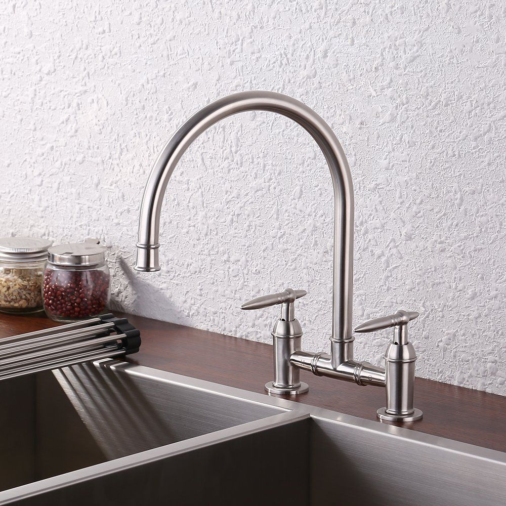 KES Two-Handle Bridge Kitchen Faucet SUS304 Stainless Steel, Brushed ...