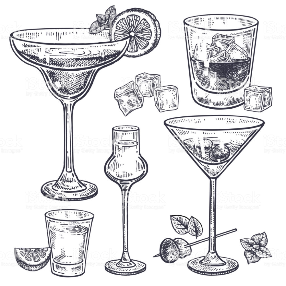 Alcoholic Drinks Set Margarita Whiskey Tequila Vodka And Vermouth Cocktail Illustration Cocktails Drawing Alcoholic Drinks