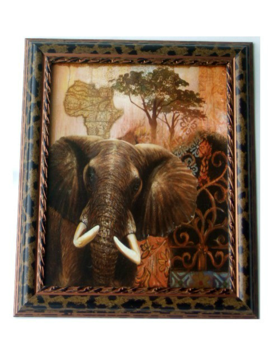 Africa Map Horn Of Africa%0A Elephant Print in Leopard Print Frame This wall art features an elephant  with an African tree