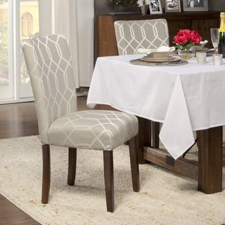 Shop For Homepop Pewter Grey Cream Lattice Elegance Parson Chairs Amusing Dining Room Chairs Online Decorating Inspiration