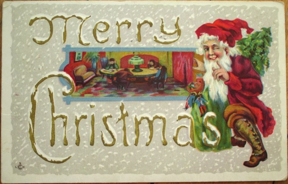 Santa Claus & Toys - 1913 Embossed, Color Litho Christmas Postcard