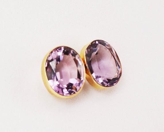 92b818afb Vintage 14k Amethyst Earrings Oval Genuine Amethyst Stud Earrings Post Back  Purple Stone February Birthstone 14k Yellow Gold Earrings