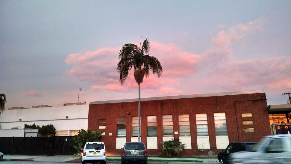 Pink sky in Hollywood.