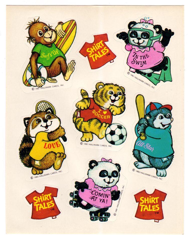 Hallmark//Ambassador Shirt Tales Fuzzy Stickers Vintage New 1980