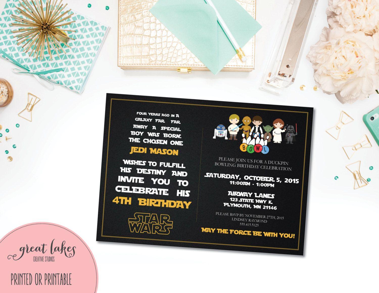 Star Wars Bowling Birthday Invitation, Star Wars Invite, Star Wars ...