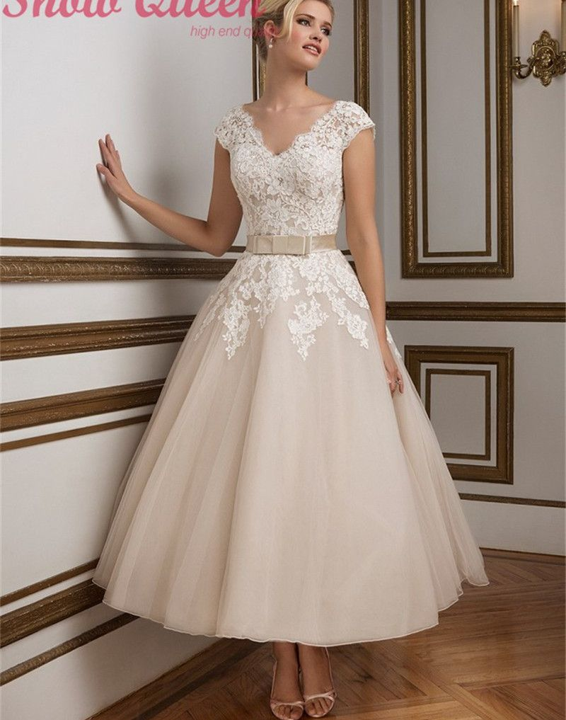 Promotion Dresses 2016 tea length wedding dresses Sweetheart Neck A ...