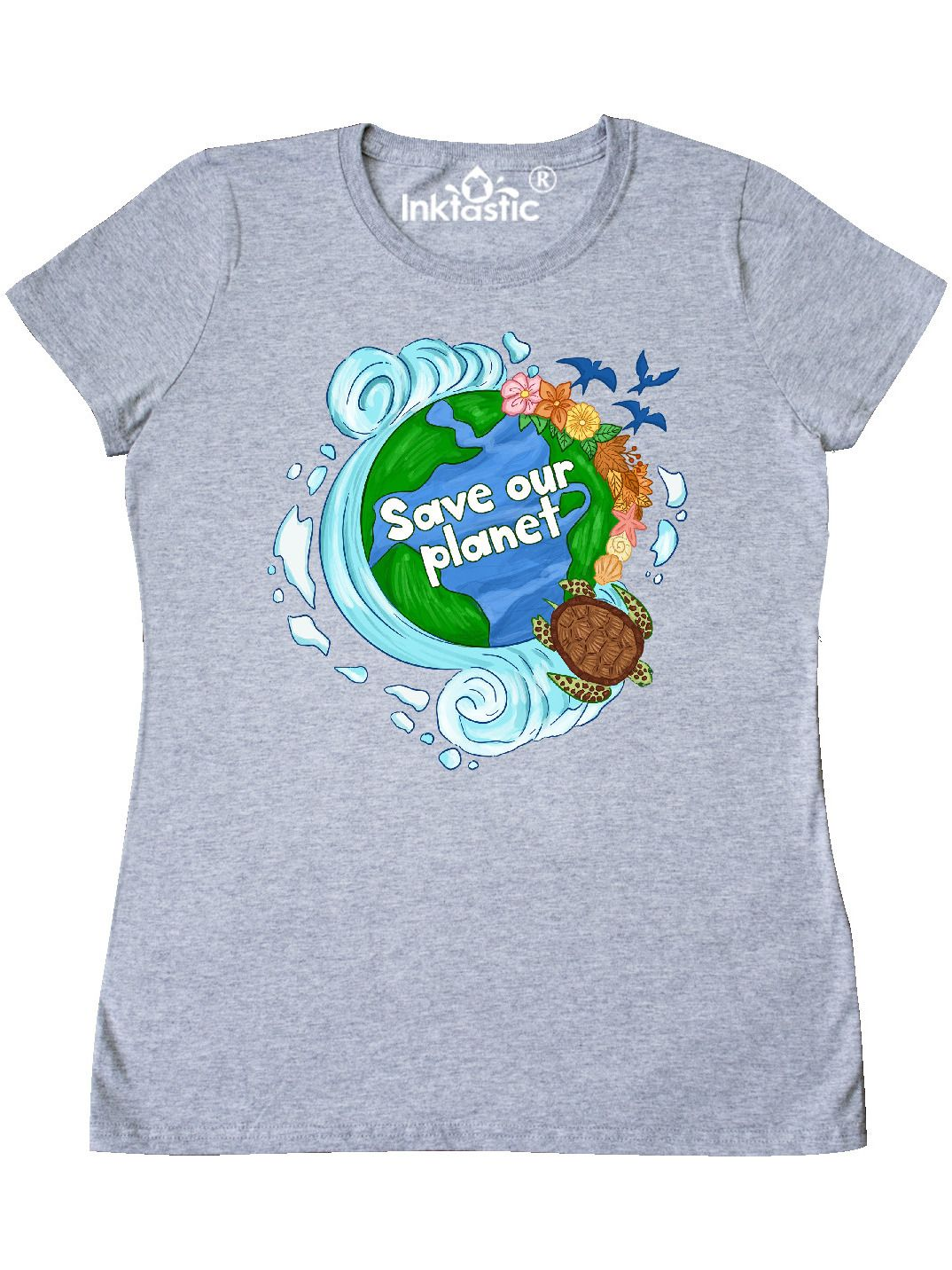 Inktastic Earth Day Save Our Planet Turtle And Birds Women S T Shirt Walmart Com In 2021 Earth Shirt T Shirts For Women Our Planet