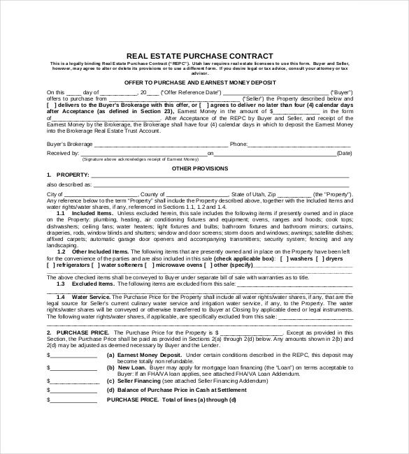 Real Estate Purchase Contract Format   Simple Contract Template