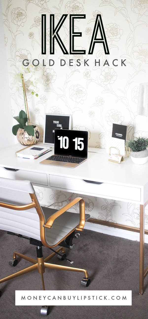 White And Gold Desk Ikea Hack Gold Home Decor Home Office