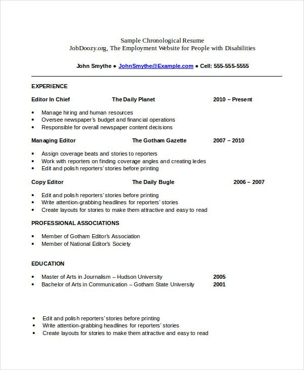 Free Chronological Resume templates , What Chronological Resume - chronological resume example