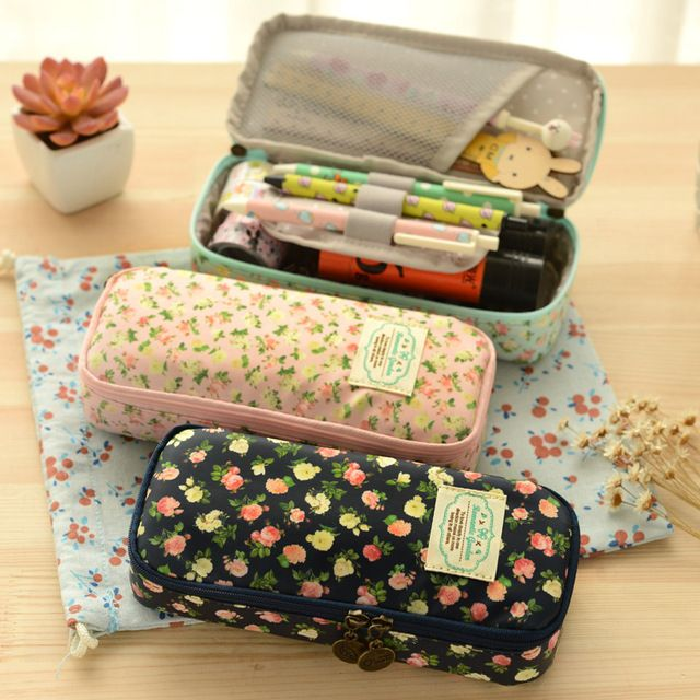 Kawaii Stationery Large Capacity Canvas Floral Pencil Case Pen Box School Supplies Cute Storage Pouch Cosmetic Bag for Girls