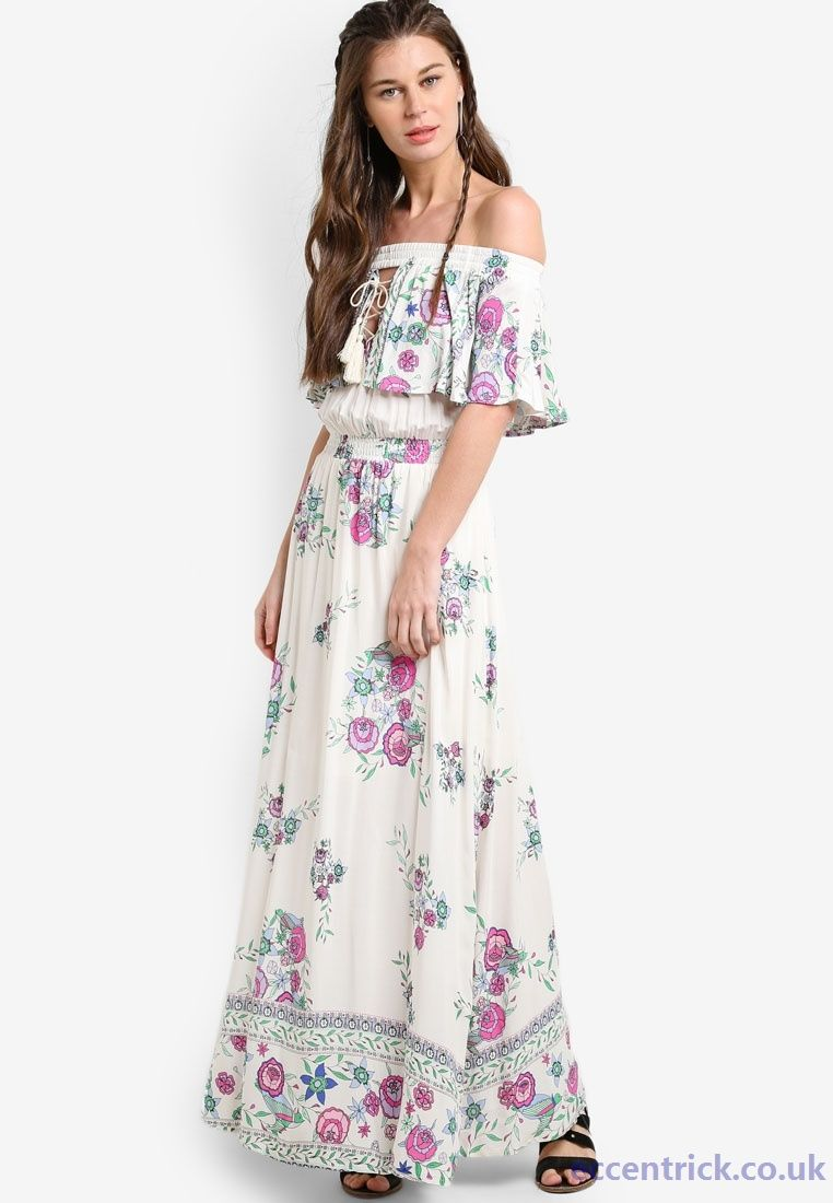 783210c89298 INDIKAH White Purple Summer Dresses - Floral Off Shoulder Maxi Dress -  D41212610 - Click