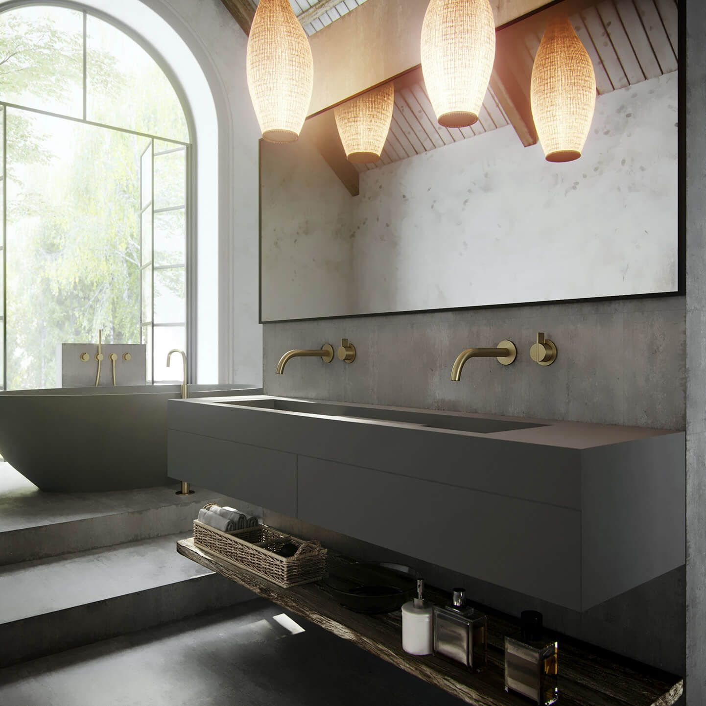 Wash basin and golden taps from bycocoon bathroom faucet