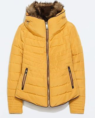 31c05aab Zara Yellow Mustard Anorak With Fur Collar Quilted Jacket Size XS/S/M/L /XL/XXL