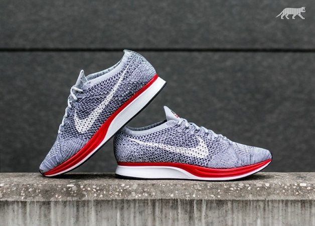 2018 Newest Nike Flyknit Racer Comes In A Clean Wolf Grey And Red Colorway  Unisex Youth Big Boys Shoes 98ac149c62e2
