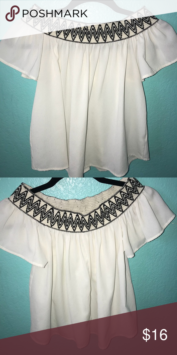 3e256a7c98601 Off the shoulder top Cream color with black detail on top elastic Poetry  Tops
