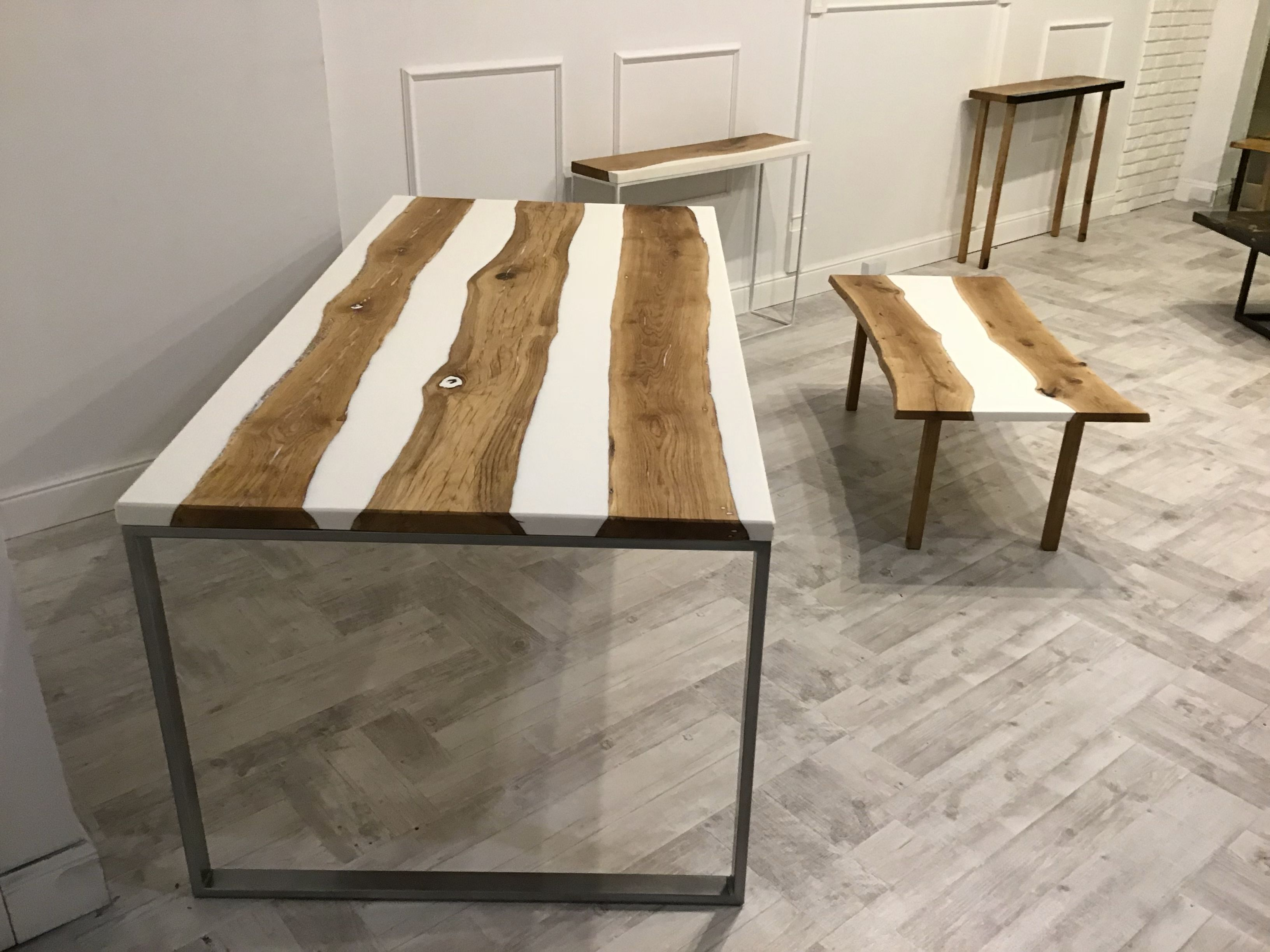 Resin Concept Wood Table Design White Oak Table Resin Furniture