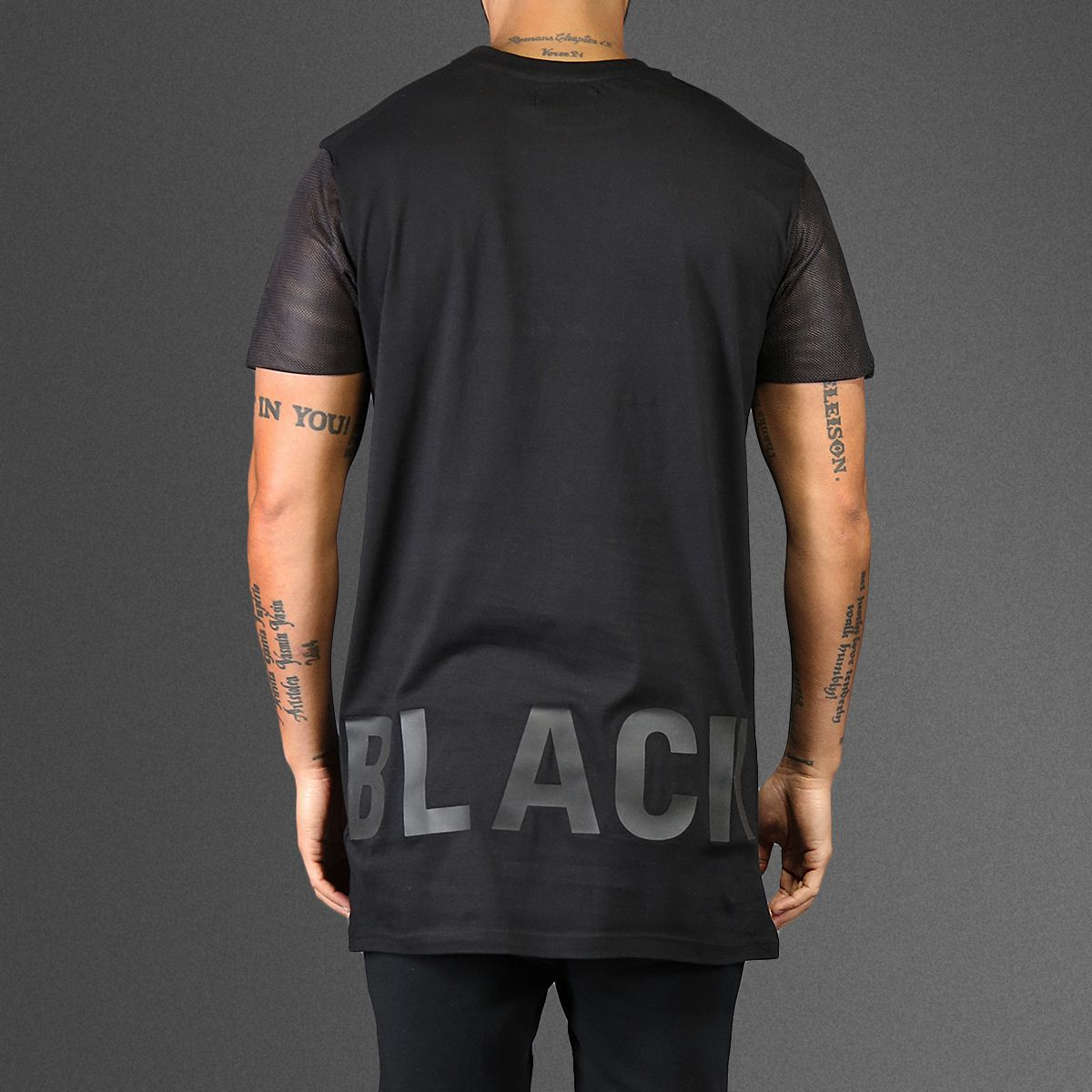 Black t shirt front and back - Still Hot Is The Fashion For Extra Long T Shirts This Simple Eleven Paris Tank Is Plain On The Front With A Simple Black On Black Screen Print On The Back