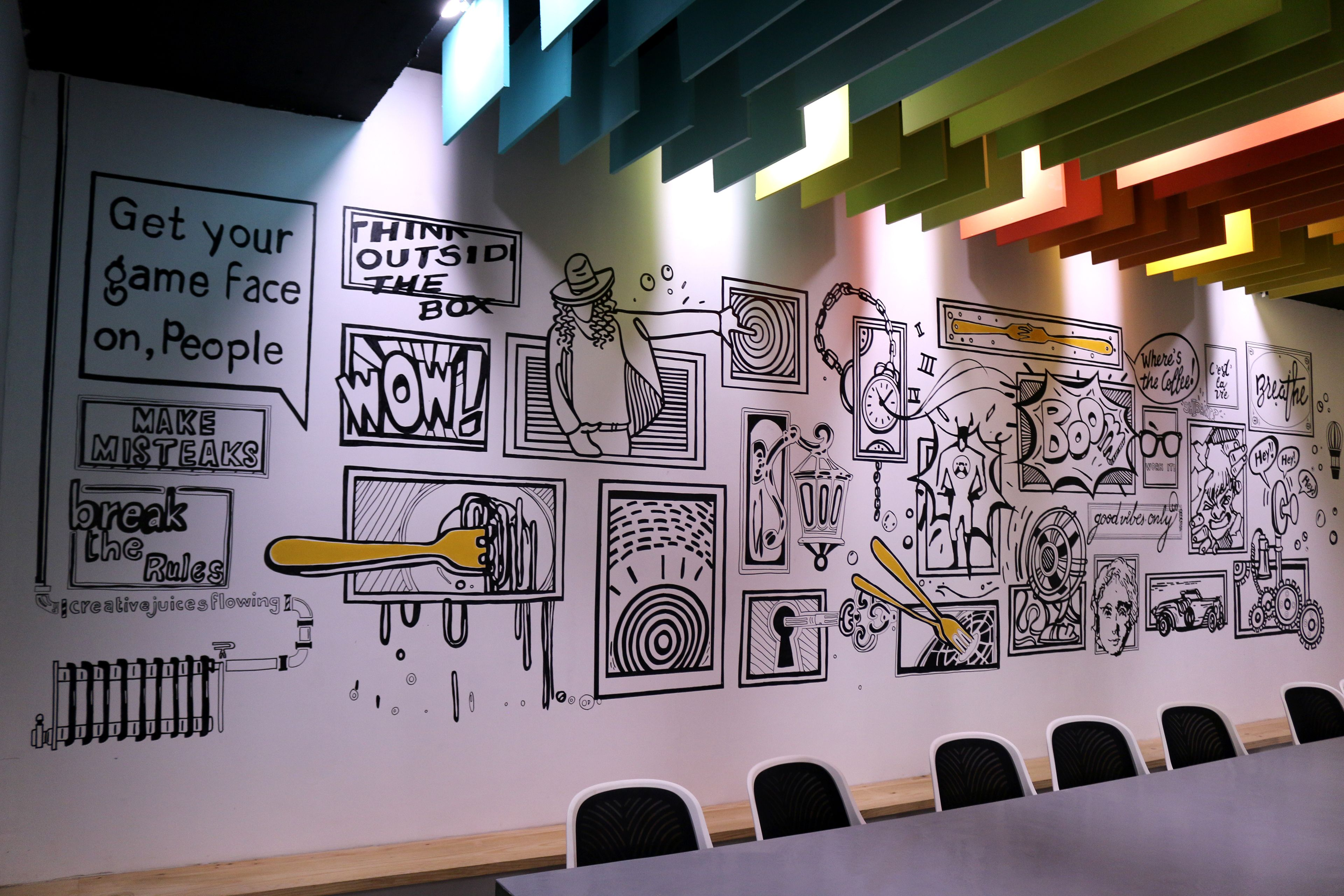 wall mural designs hand done for a media agency called fork media wall mural designs hand done for a media agency called fork media in mumbai the project required us to jazz up their new office space with quirky doodles