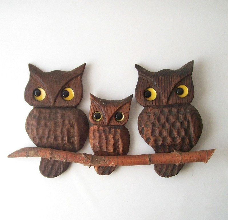 vintage owls on a branch wood retro wall hanging home decor carved woodgrain brown yellow woodland hoot bird. $18.00, via Etsy.