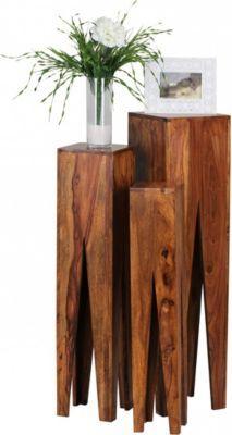 Schon Wohnling WOHNLING Beistelltisch 3er Set KADA Massivholz Sheesham Wohnzimmer Tisch  Design Säulen Landhausstil Couchtisch Quadratisch