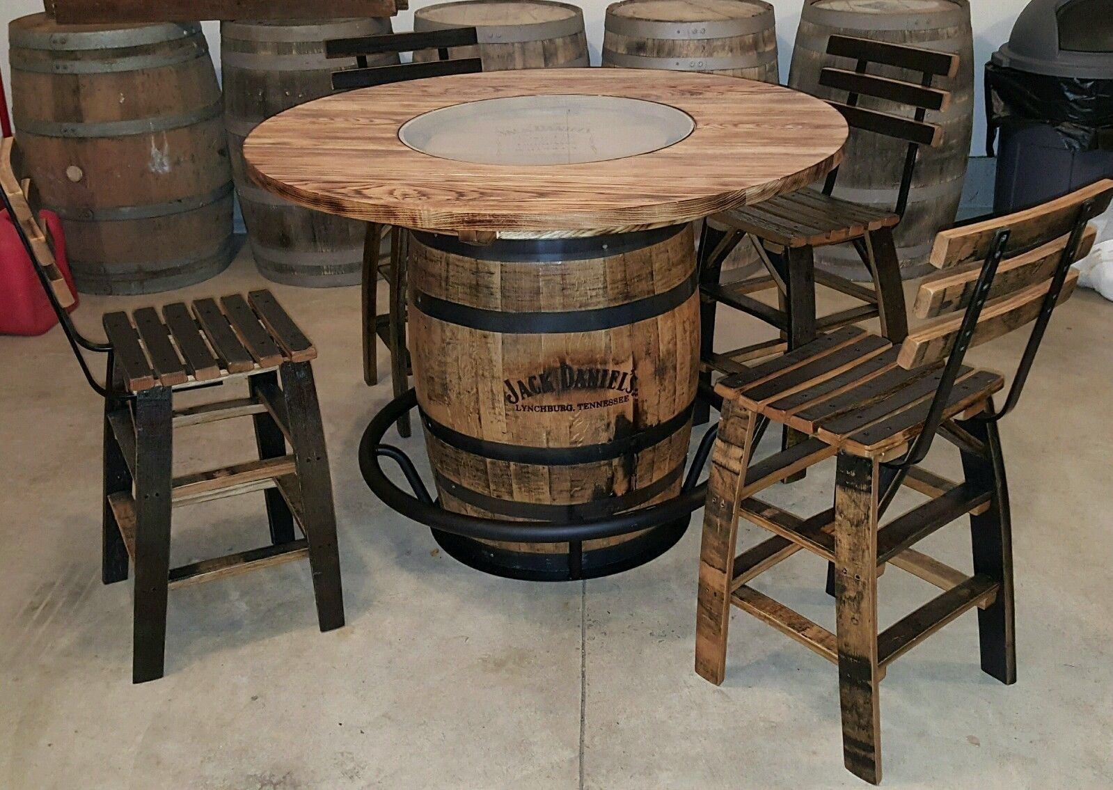 Jack Daniels Whiskey Barrel Table Authentic Charred Barrel
