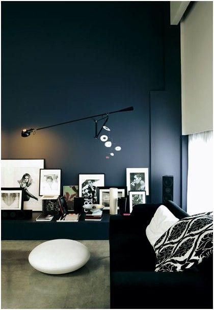 Various Dashing Dark Themed Interior For Living Room Design : Stylish Dark  Living Room Designs Black Sofa And White Cushion Black Wall Interior Lamp  ...