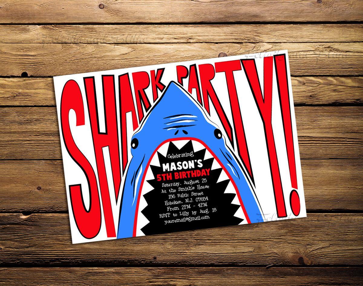 Shark Birthday Party or Pool Party Invitation. $15.00, via Etsy ...